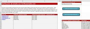 Fichero Excel verificación emails