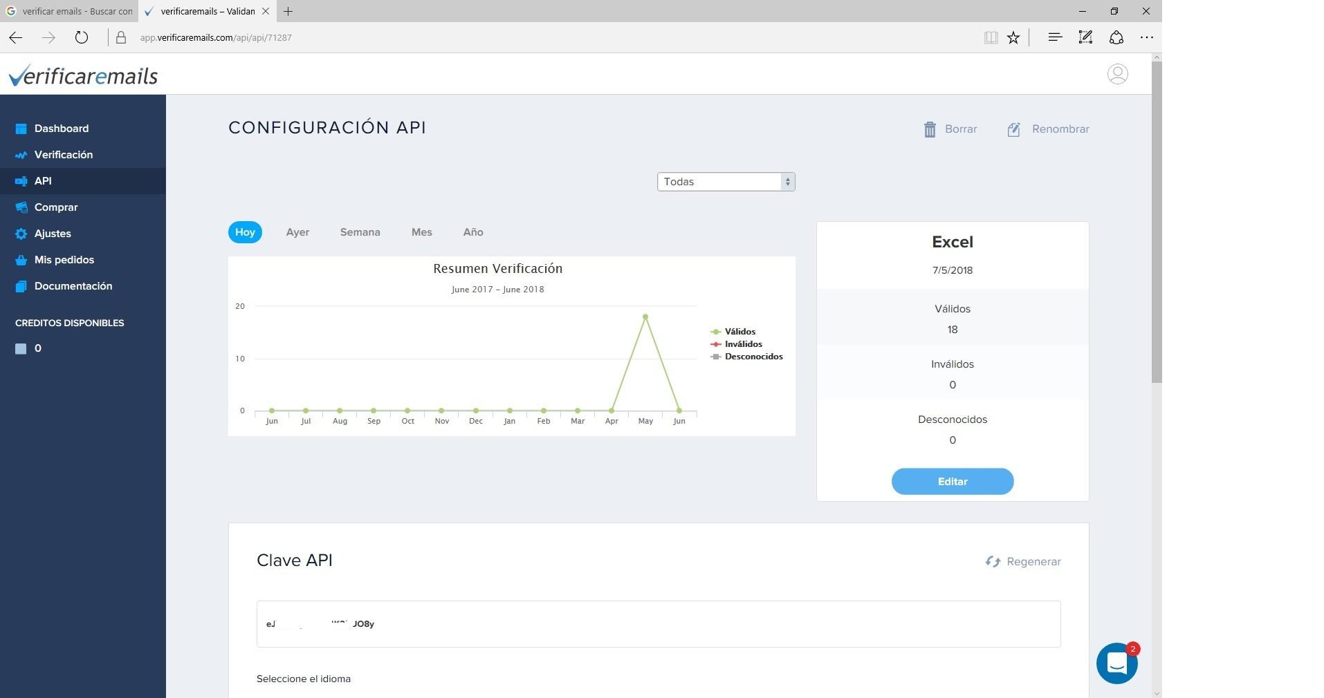 Validar email API